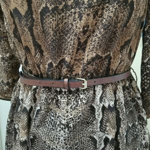 H&M Skinny Belt Cognac Brown Faux Leather XS/S